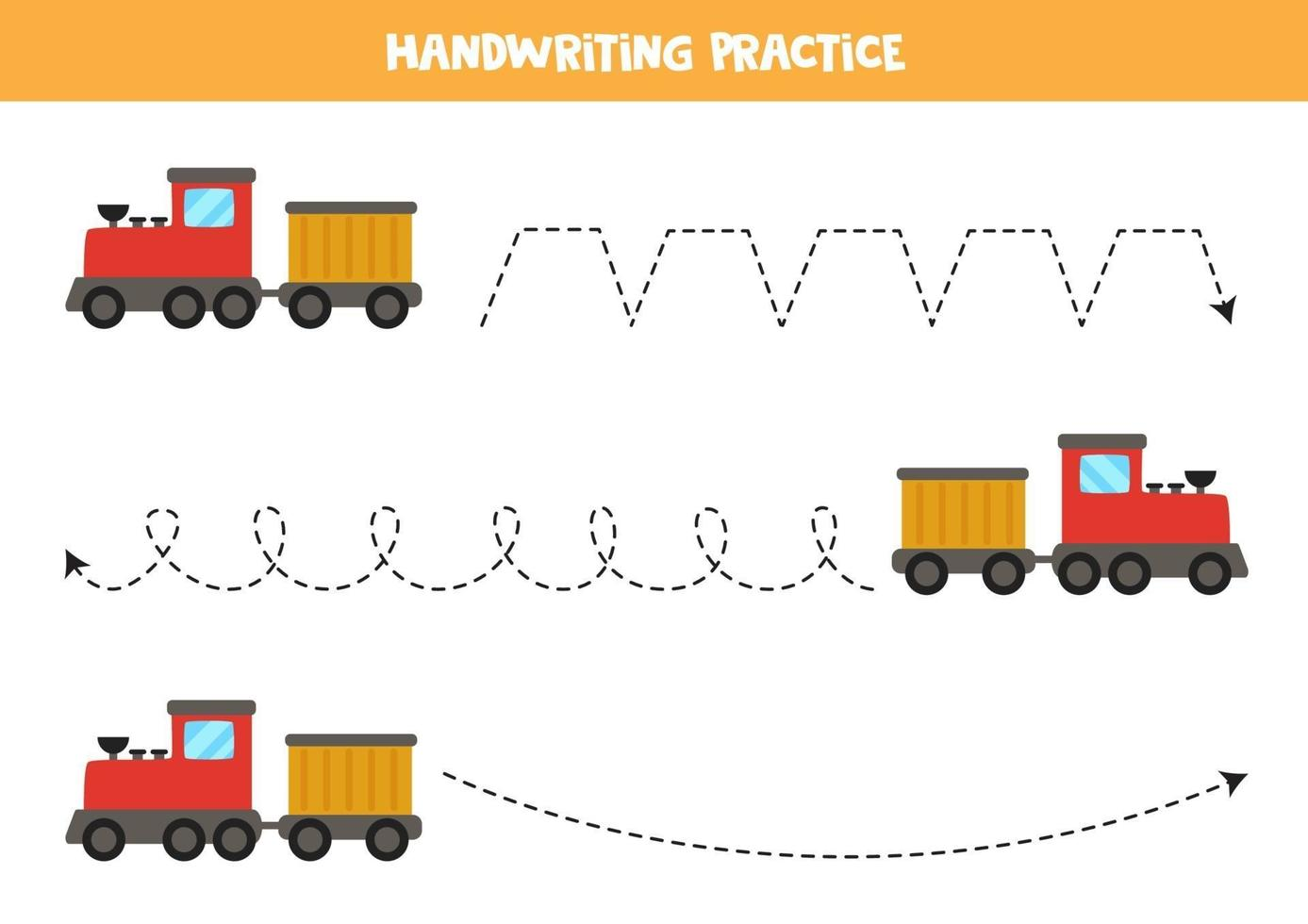 trazar las líneas con medios de transporte. Practica de la escritura. vector