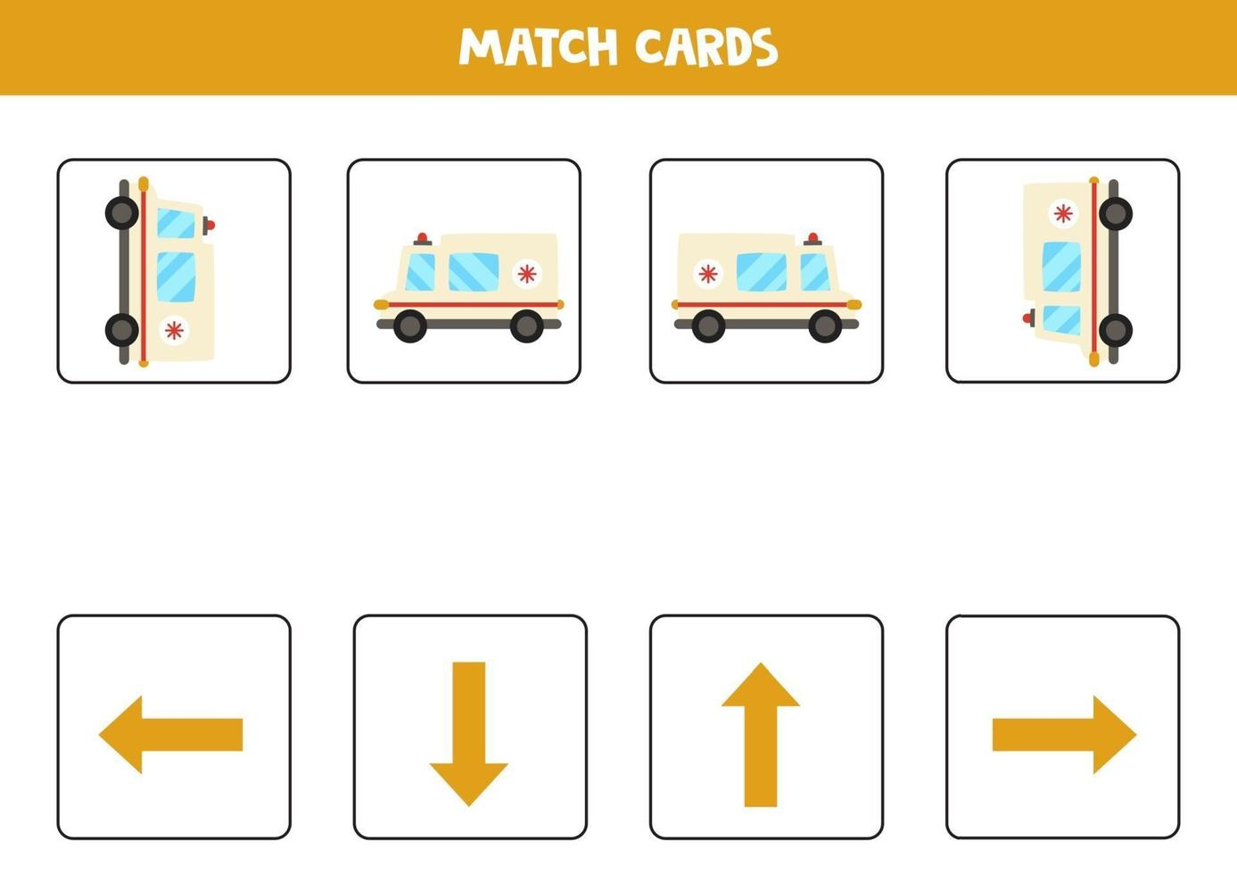 Left, right, up or down. Spatial orientation with cartoon ambulance car. vector