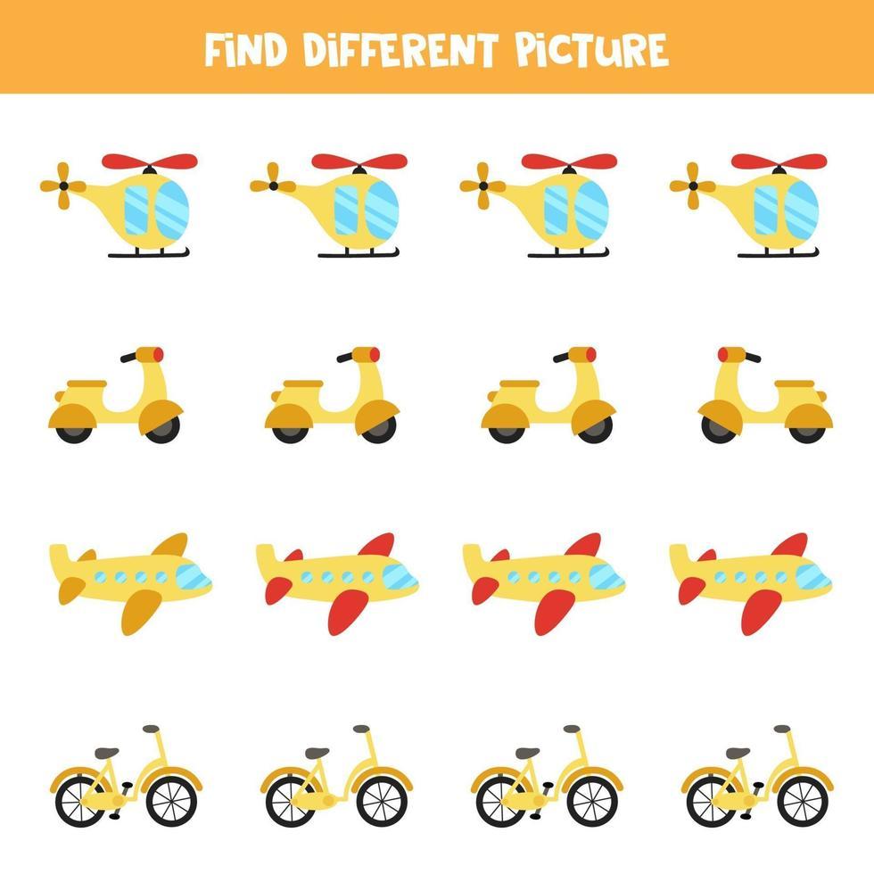 encontrar transporte que sea diferente a los demás. hoja de trabajo temática de transporte. vector