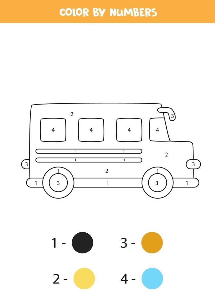 autobús escolar de dibujos animados en color por números. hoja de trabajo de transporte. vector