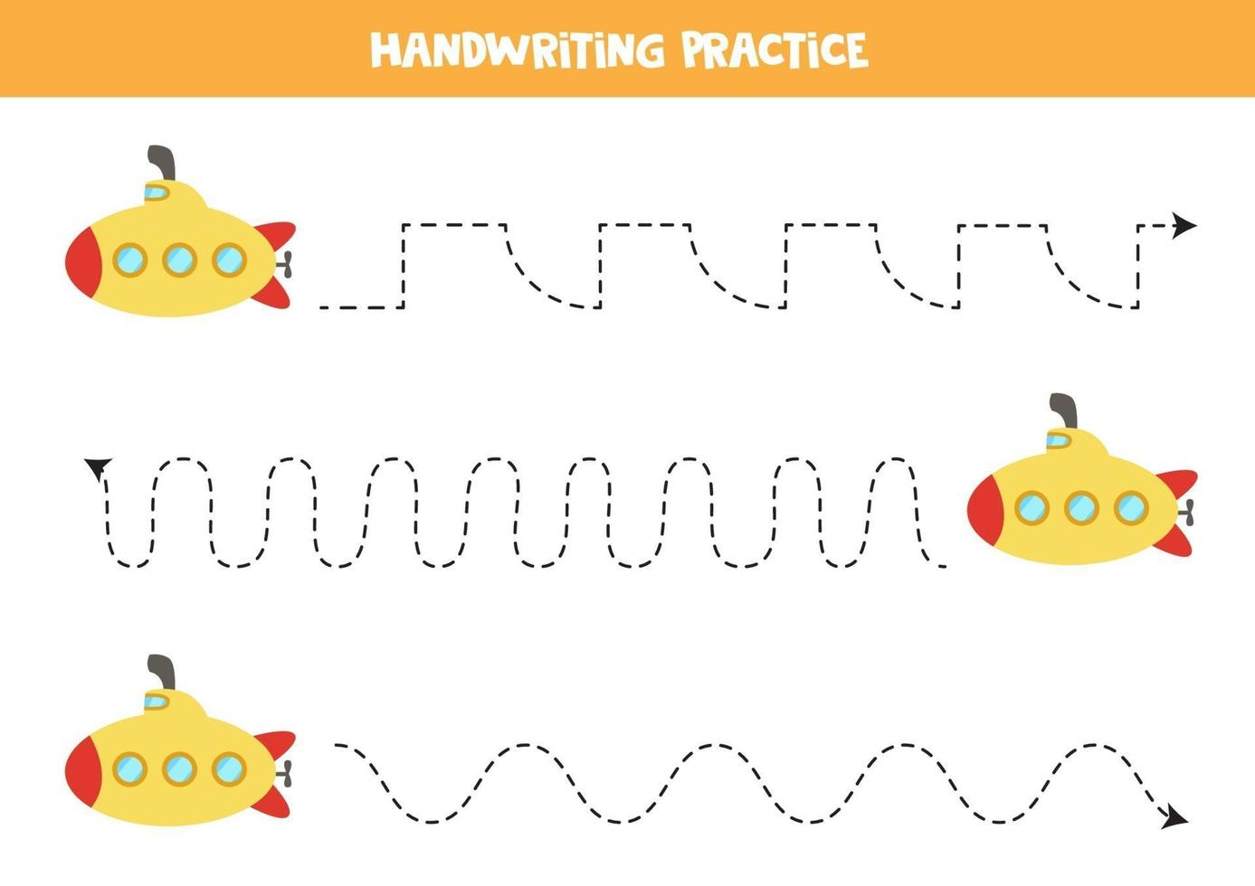 Trace the lines with cartoon submarine. Writing practice. vector
