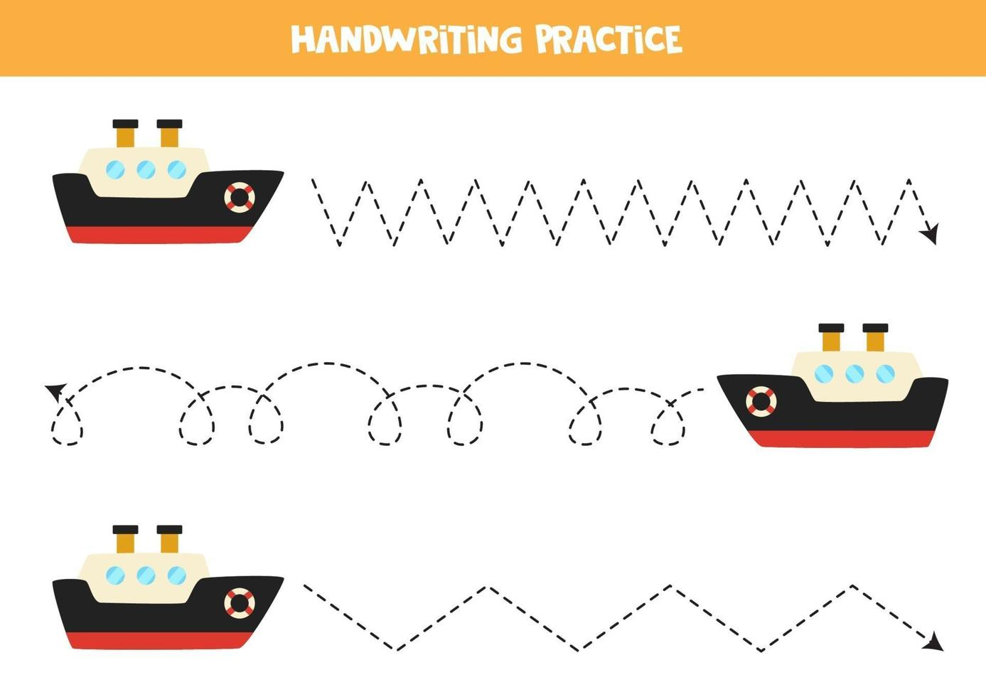 Trace the lines with cartoon ship. Writing practice. vector