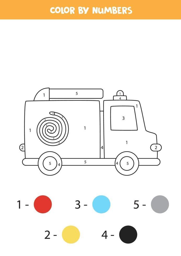 Camión de bomberos de dibujos animados en color por números. hoja de trabajo de transporte. vector