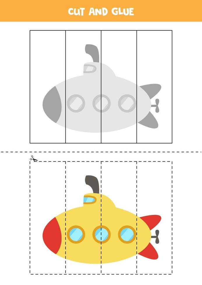 Cut and glue game for kids. Cartoon submarine. vector