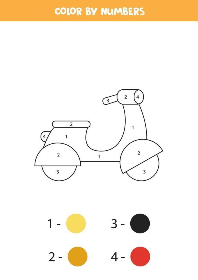 ciclomotor de dibujos animados en color por números. hoja de trabajo de transporte. vector