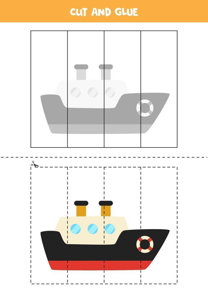 juego de cortar y pegar para niños. barco de dibujos animados. vector