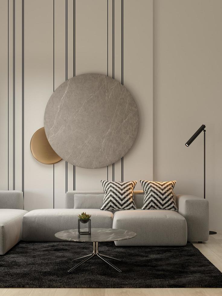 Minimalist interior of a modern living room in 3D illustration photo
