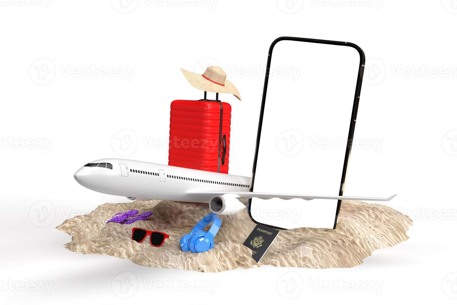 3D render of travel vacation items photo