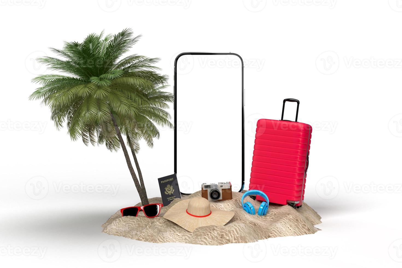 Summer holiday 3D travel mockup photo