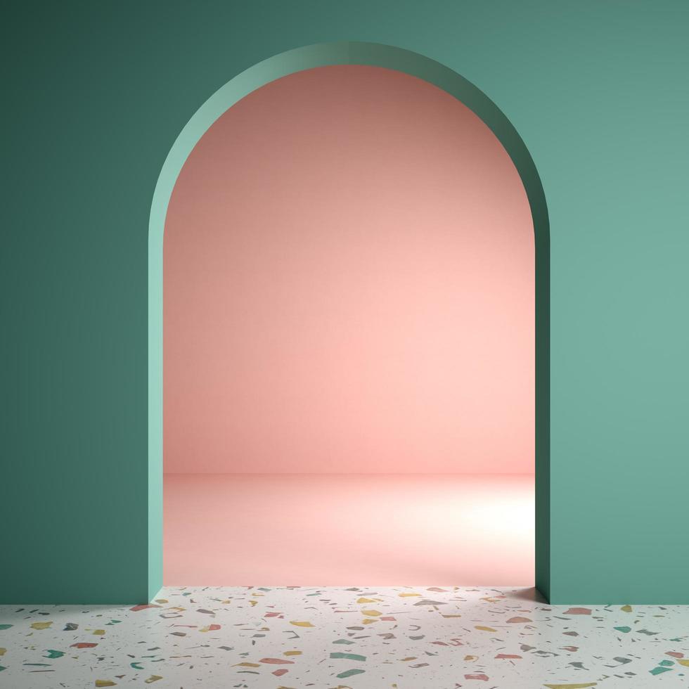 Memphis style conceptual interior room in 3d illustration photo