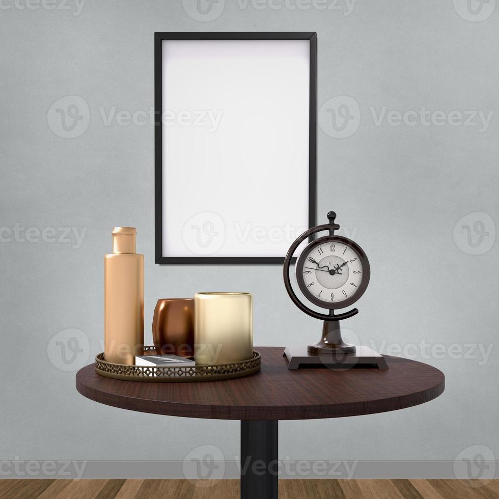 marco de póster de maqueta con decoración del hogar foto