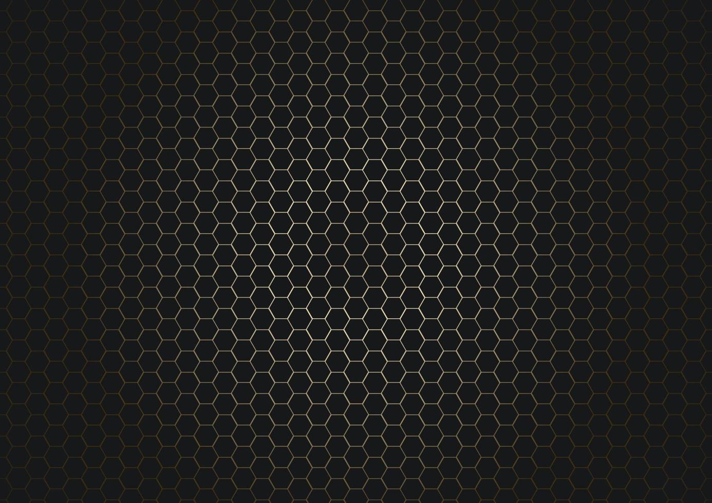 Abstract black hexagon pattern on glowing gold background and texture. vector