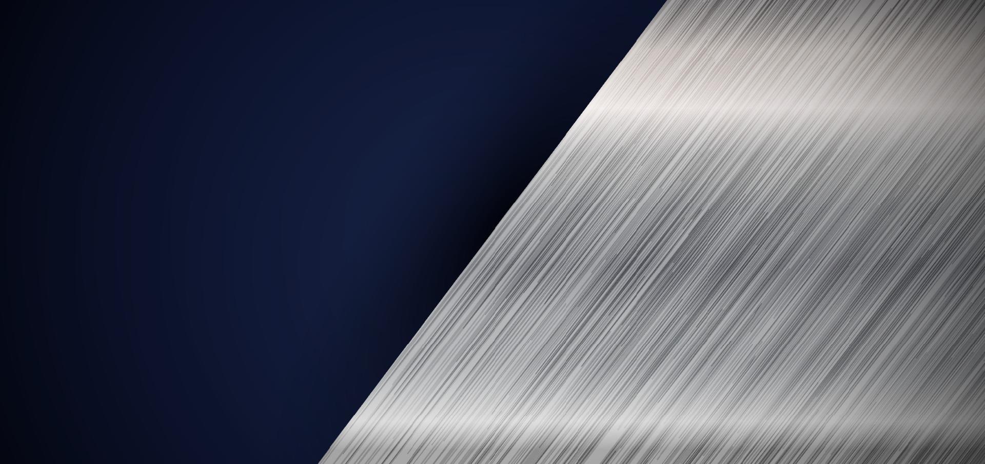 Abstract banner web elegant silver metallic diagonal on dark blue background vector