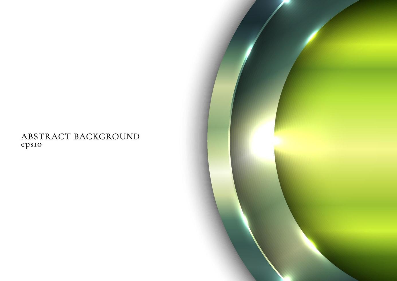 3D green metallic shiny circle overlapping with lighting on white space background vector