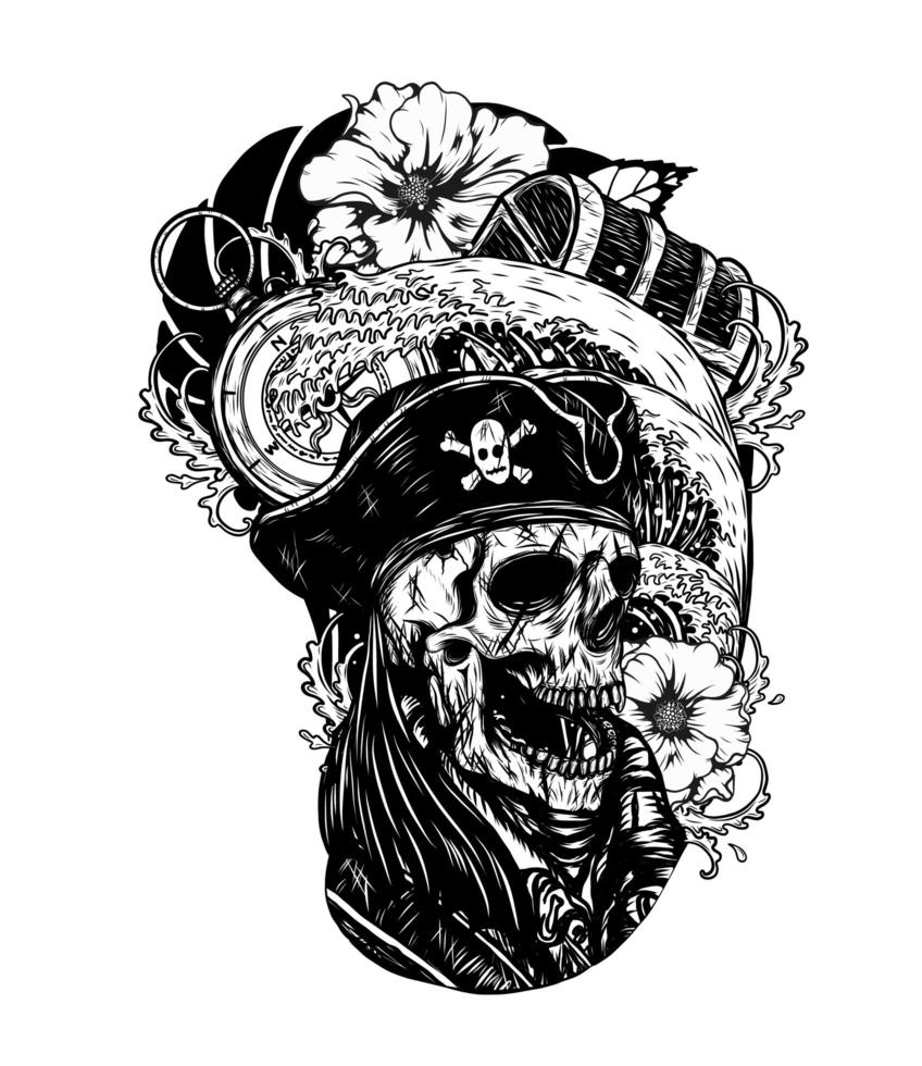 Pirate skull with ship vector tattoo hand drawing.