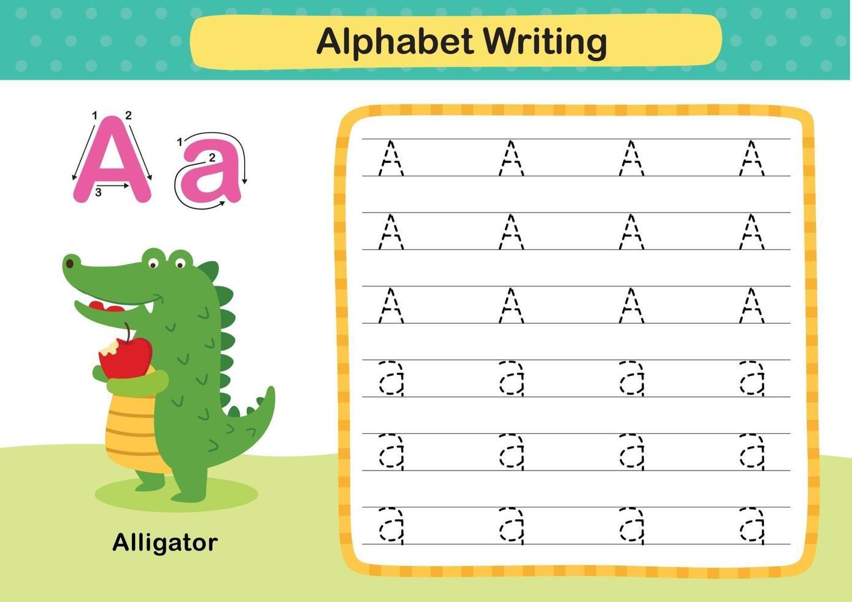 Ejercicio de letra del alfabeto a-cocodrilo con ilustración de vocabulario de dibujos animados, vector