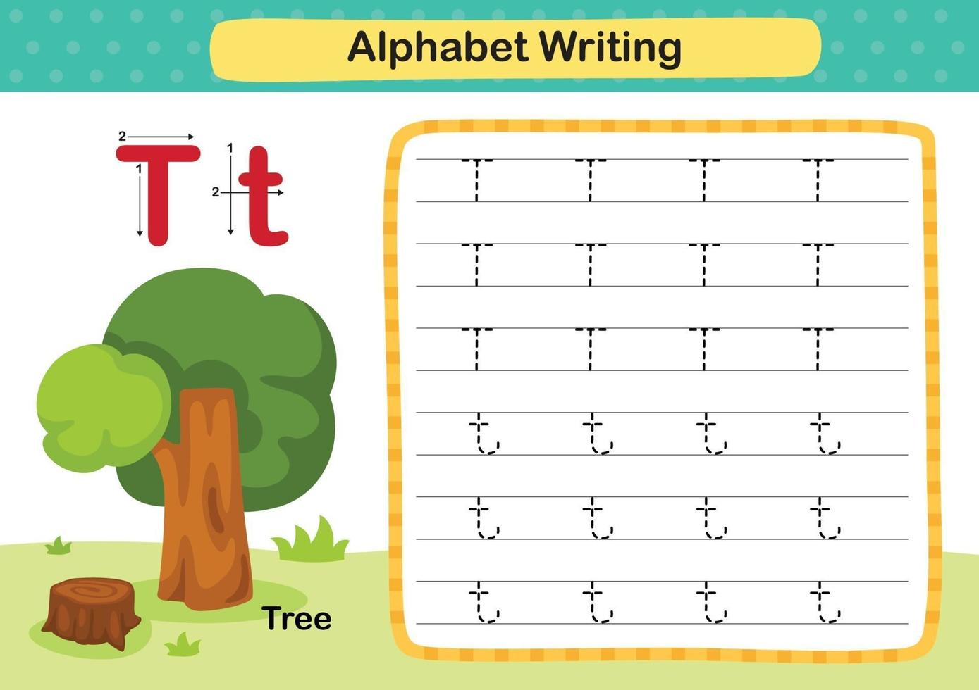 Alphabet Letter T-Tree exercise with cartoon vocabulary illustration, vector