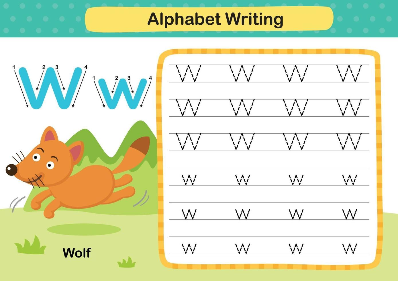 Alphabet Letter W-Wolf exercise with cartoon vocabulary illustration, vector