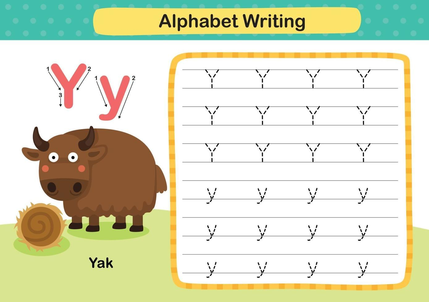 Alphabet Letter Y-Yak exercise with cartoon vocabulary illustration, vector
