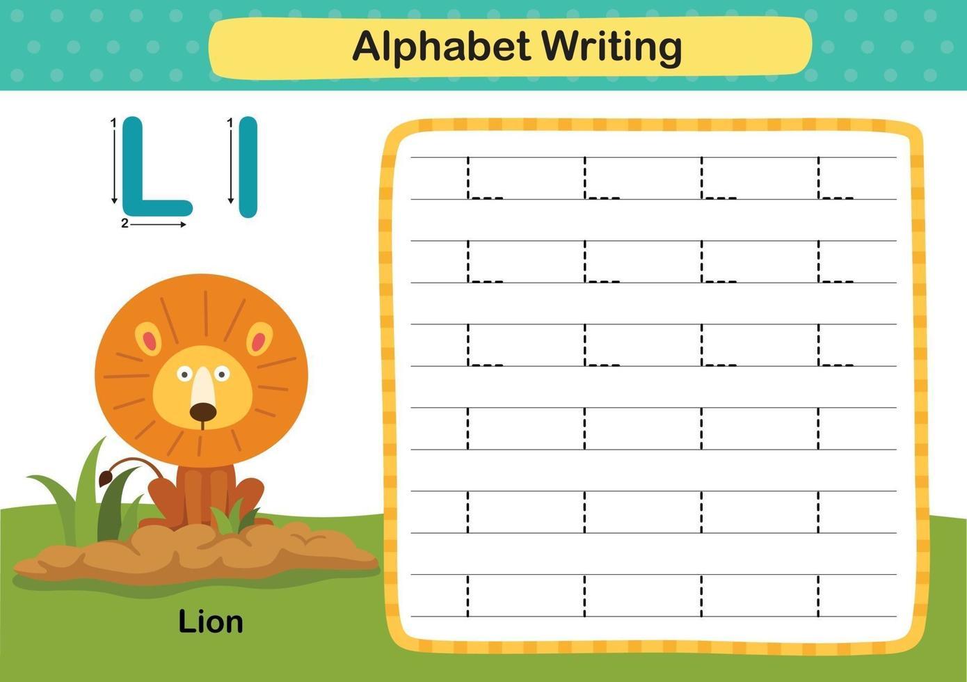 Ejercicio de alfabeto letra l-león con ilustración de vocabulario de dibujos animados, vector