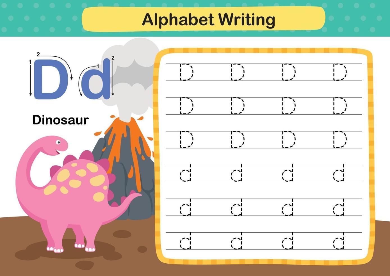 Alphabet Letter D-Dinosaur exercise with cartoon vocabulary illustration, vector