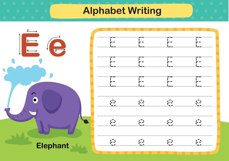 Ejercicio de letra del alfabeto e-elefante con ilustración de vocabulario de dibujos animados, vector