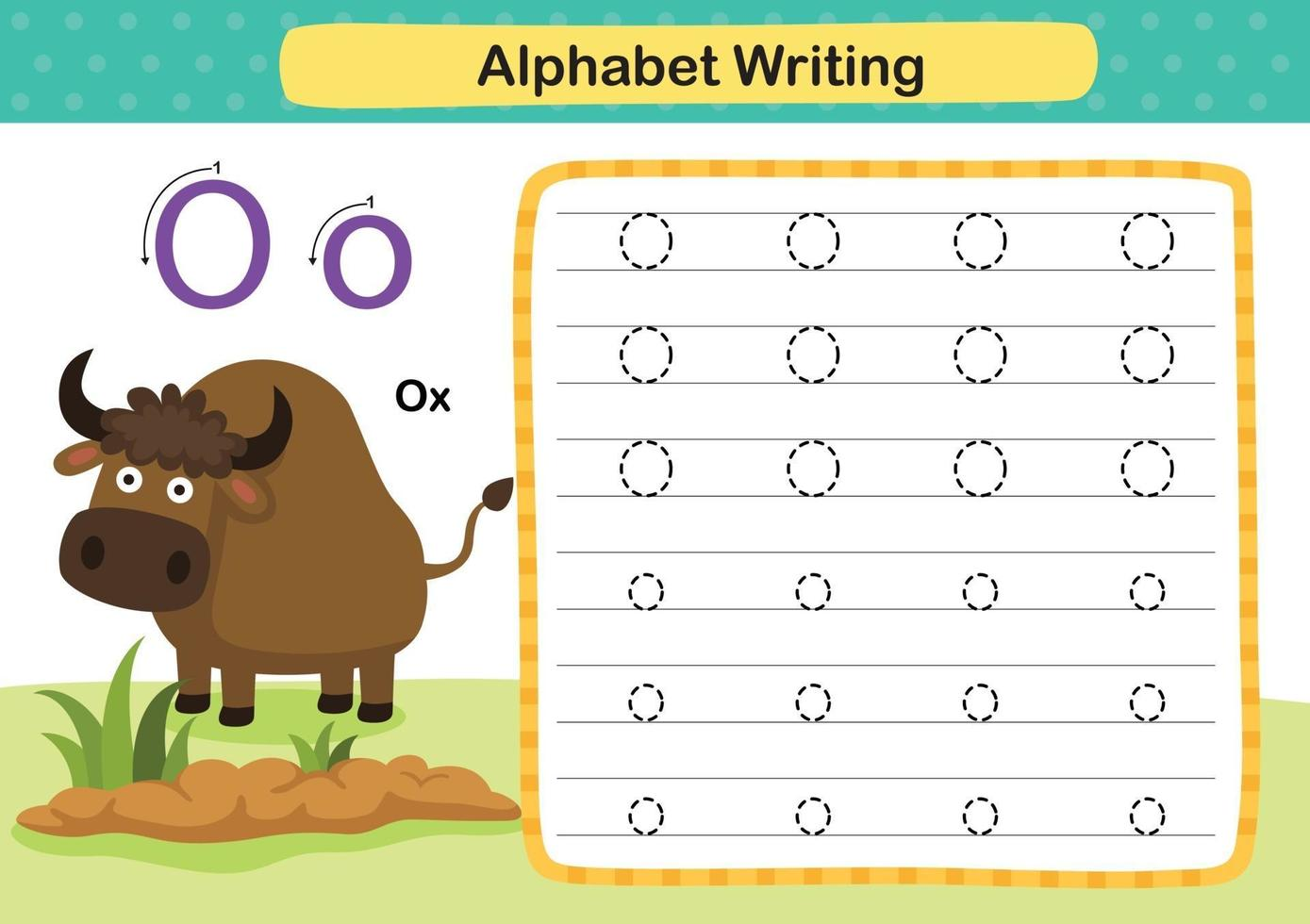 Alphabet Letter O-Ox exercise with cartoon vocabulary illustration, vector
