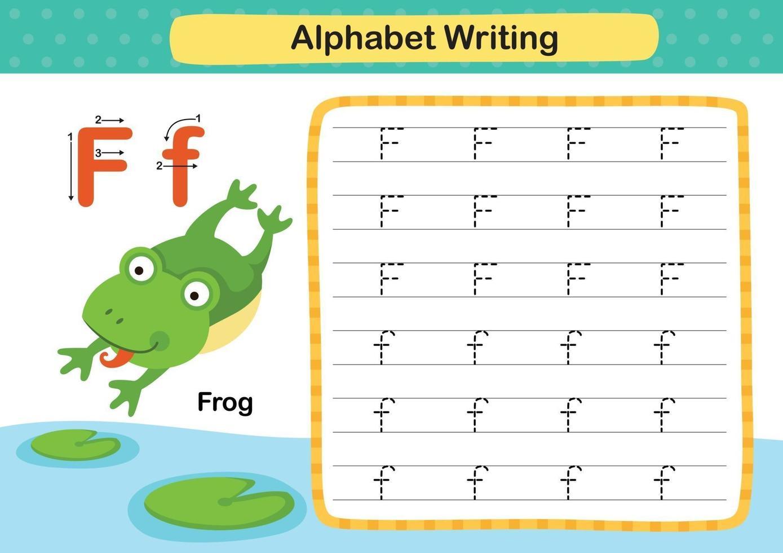 Ejercicio de alfabeto letra f-rana con ilustración de vocabulario de dibujos animados, vector