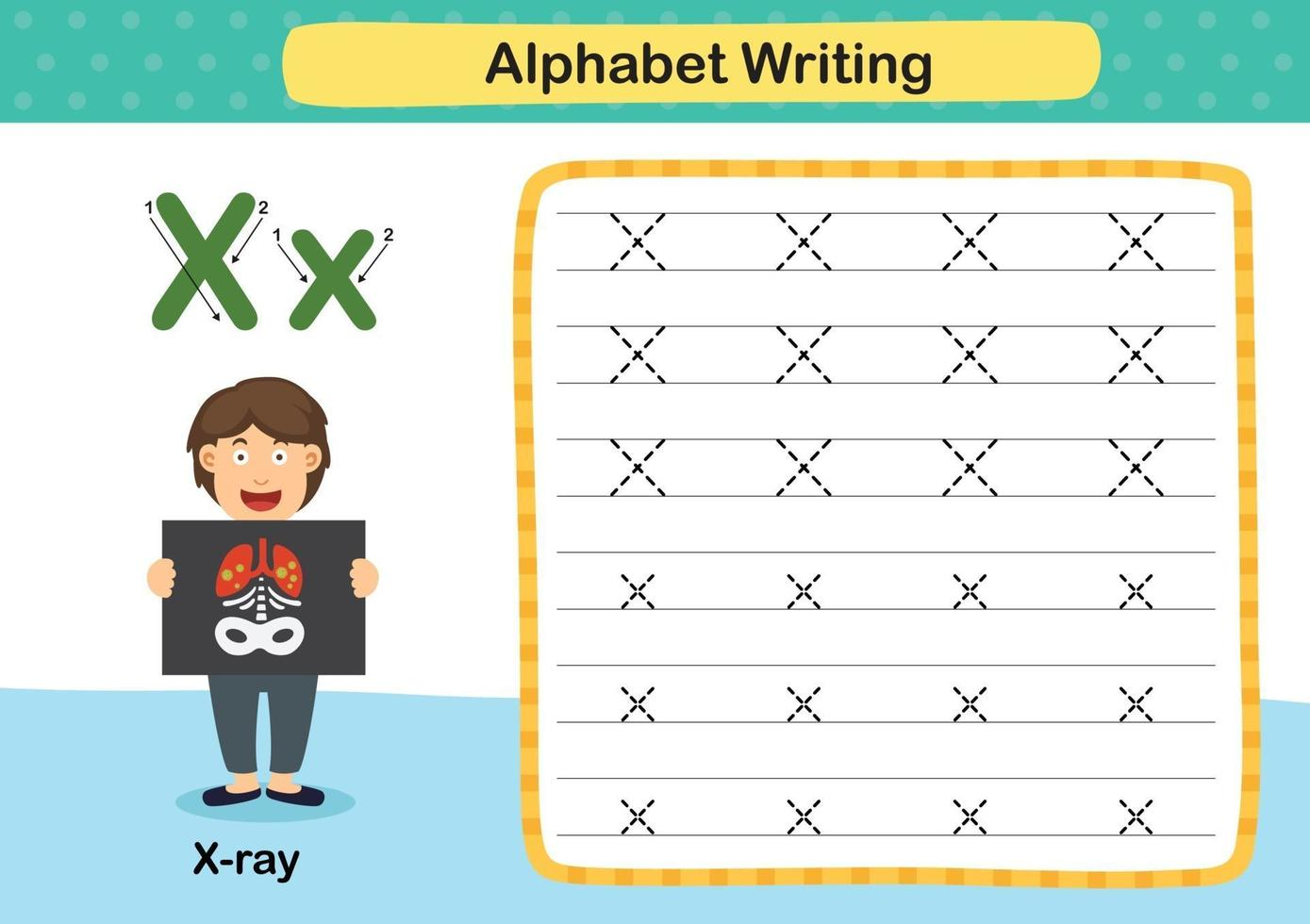 Alphabet Letter X-X ray exercise with cartoon vocabulary illustration, vector