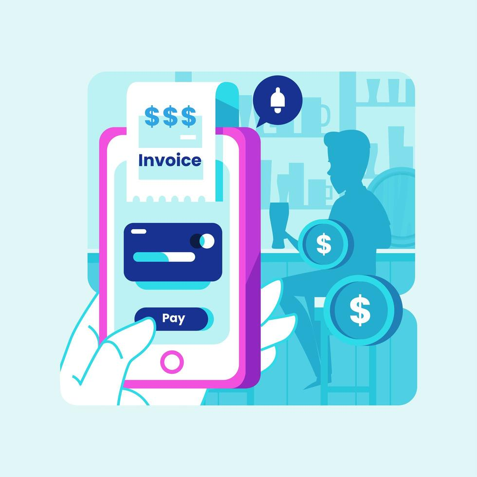 Smart Mobile Payment Concept in Bar vector