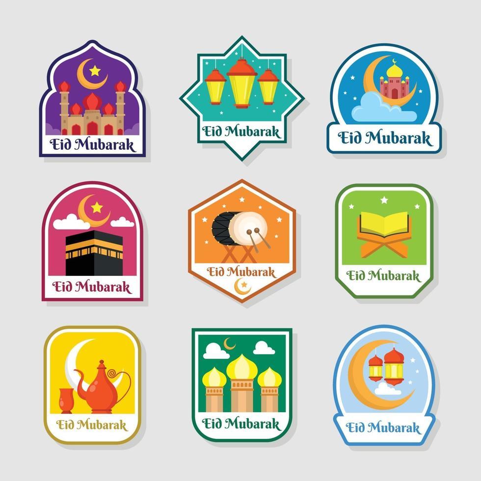 Set Of Eid Mubarak Festival Label 2072181 Download Free Vectors Clipart Graphics Vector Art