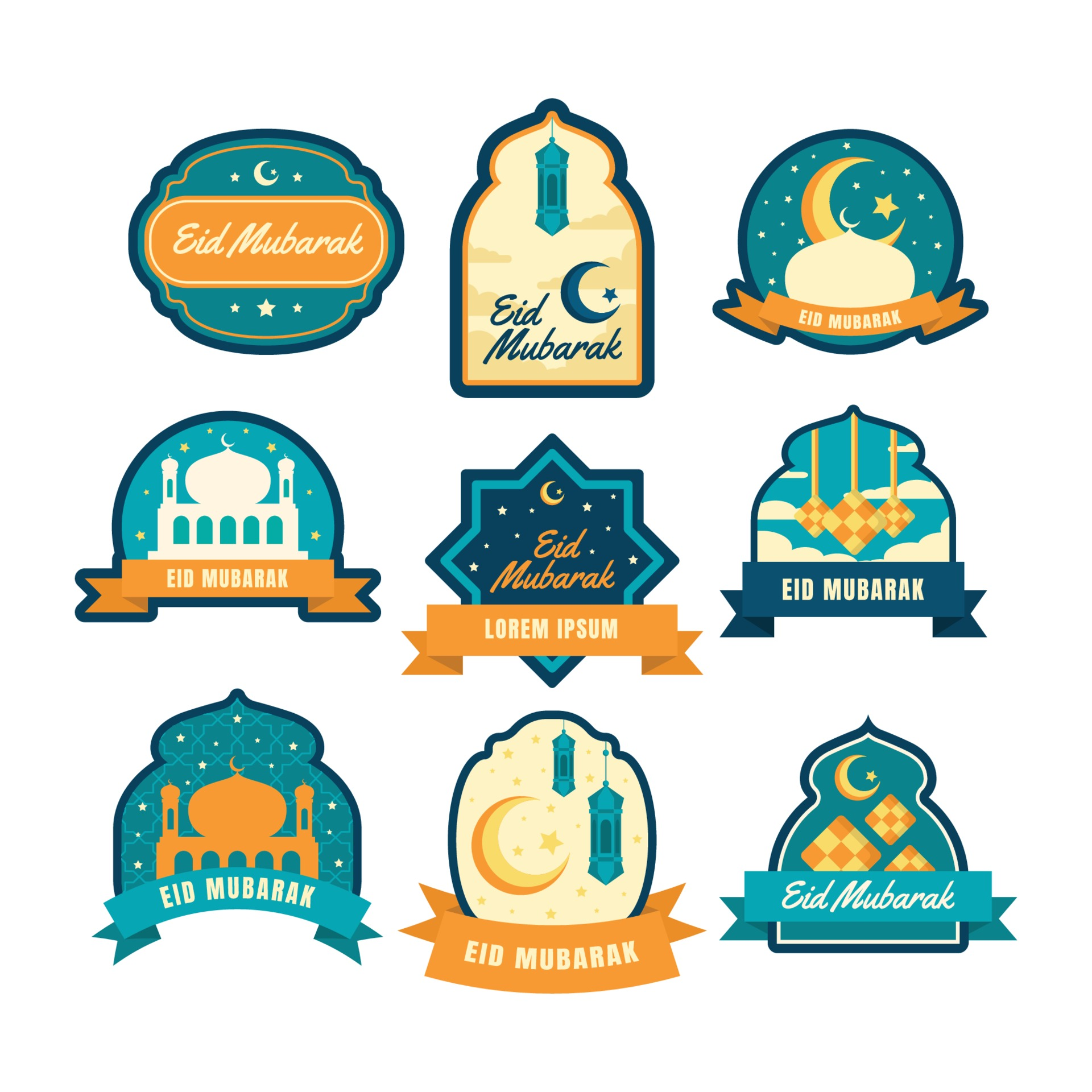 Eid Mubarak Label Set 2072277 Vector Art At Vecteezy