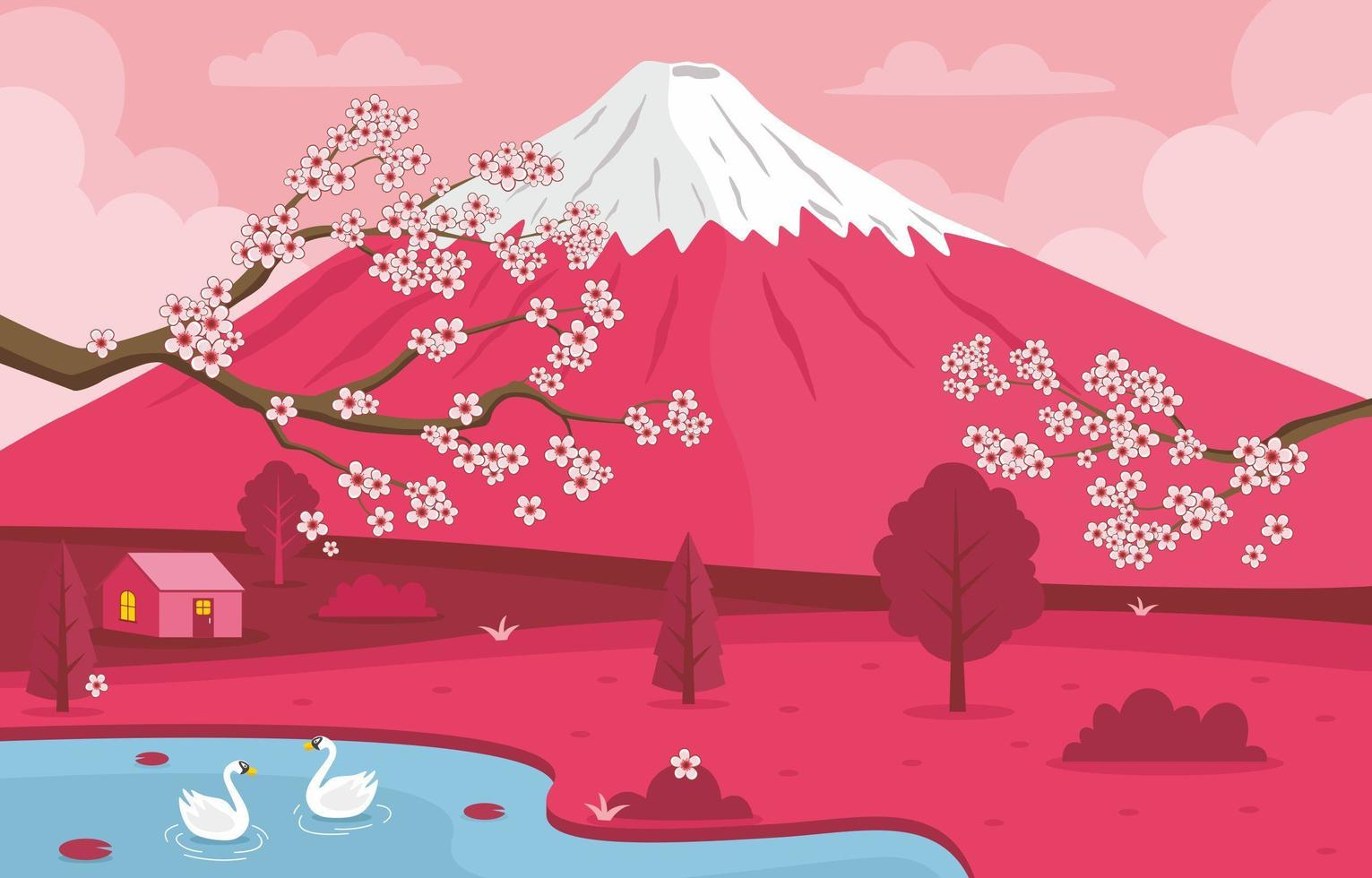 Cherry Blossom Landscape Concept vector
