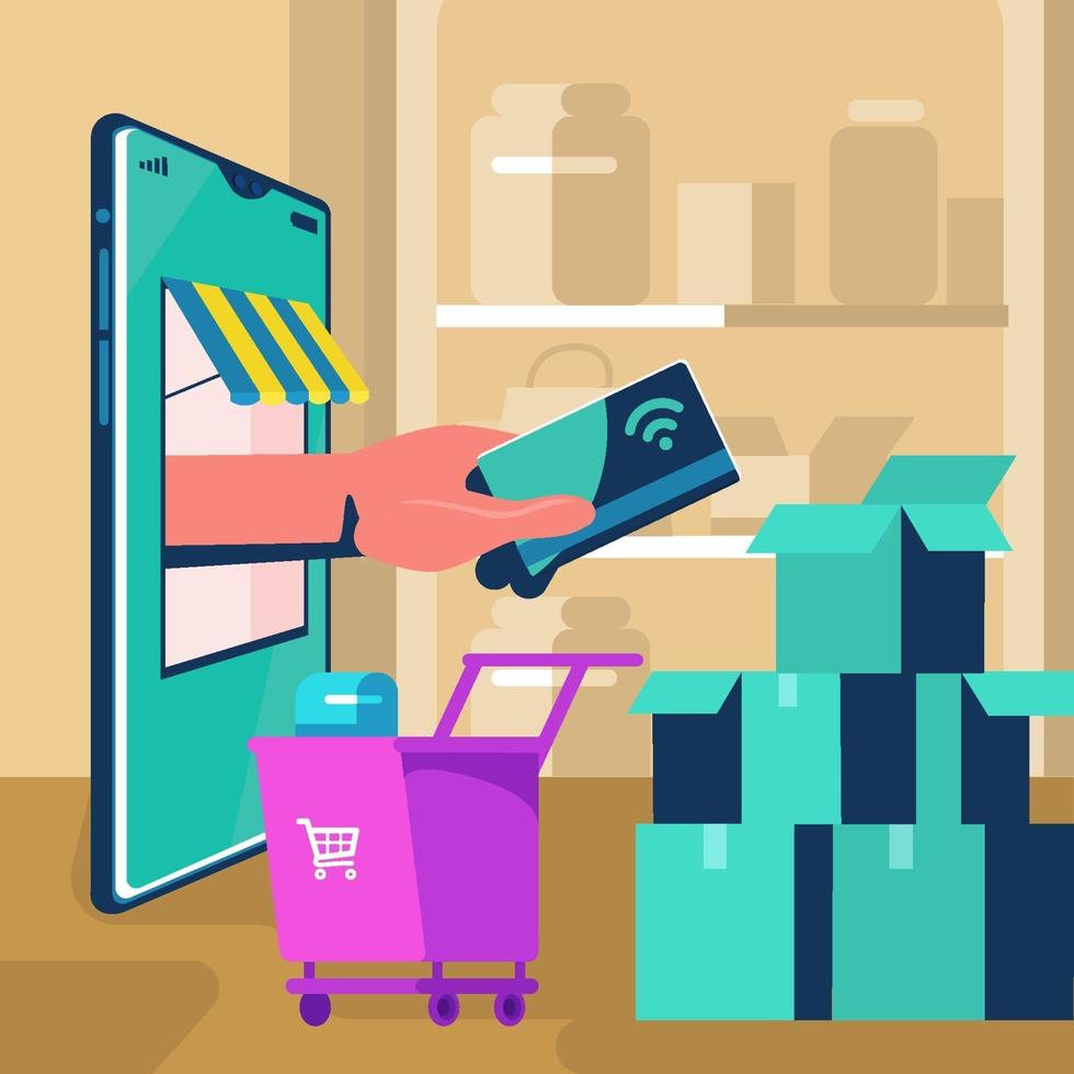 Hand Give Credit Card Virtually Through Items Concept vector