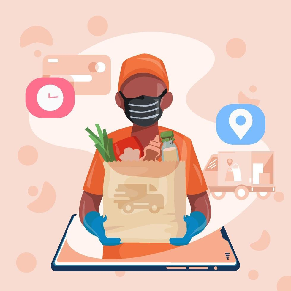 Package Delivery Food Items Via Online Apps vector