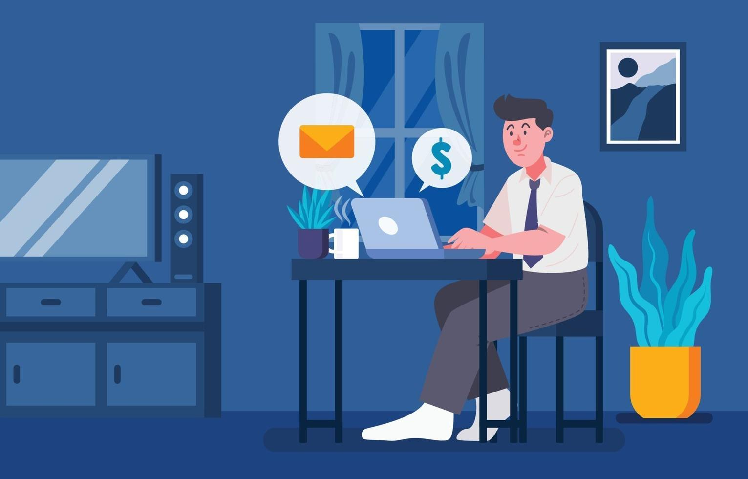 Man Working From Home Concept vector