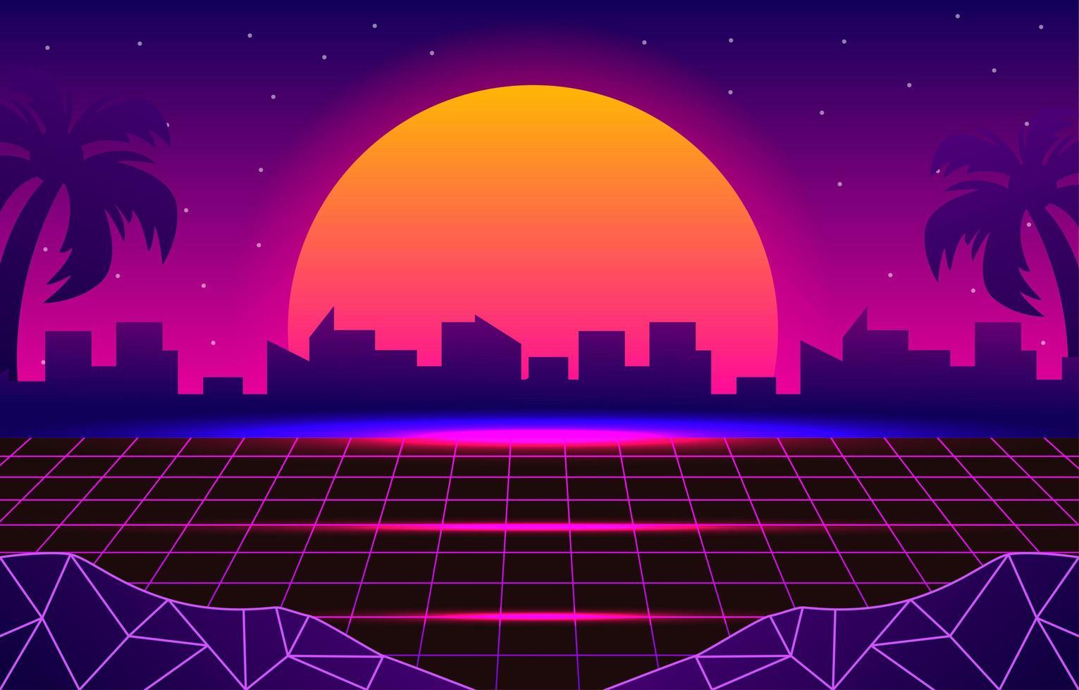Futuristic Retro Landscape of 1980 vector
