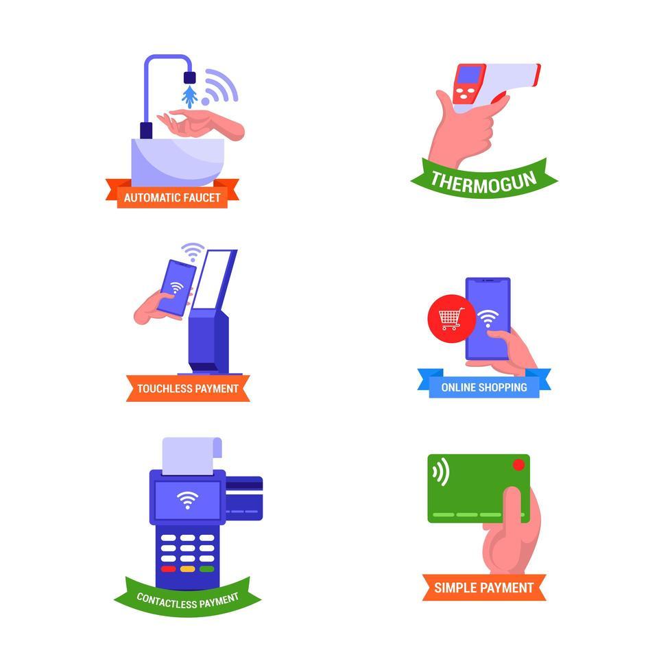 Playful Contactless Technology Sticker Set vector