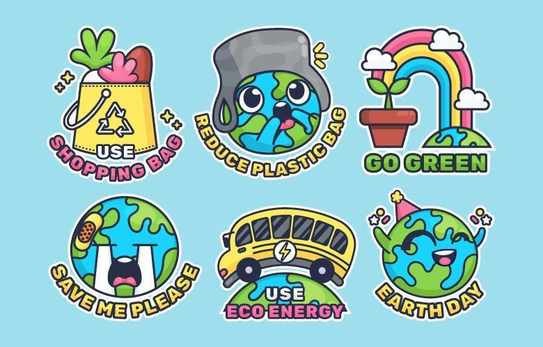 Cute Earth Day Sticker Pack vector