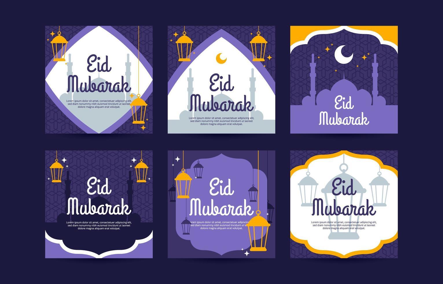 Eid Mubarak Social Media Post Template vector