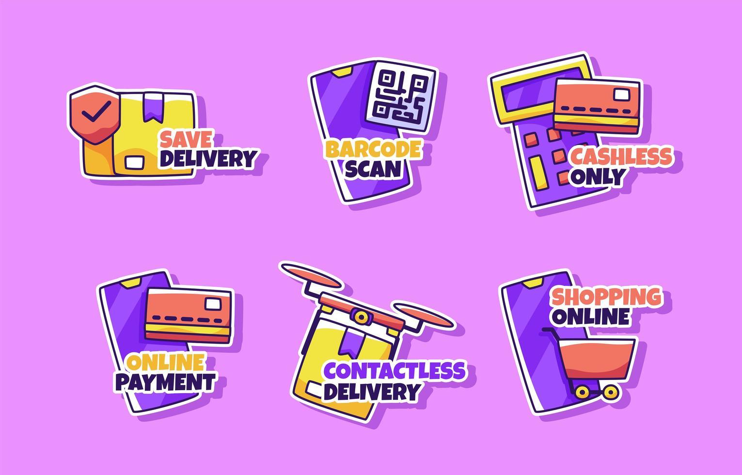 Online Shopping Contactless Technology vector