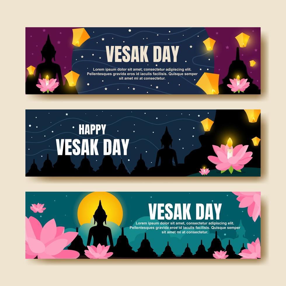Happy Vesak Day Banner Collection vector