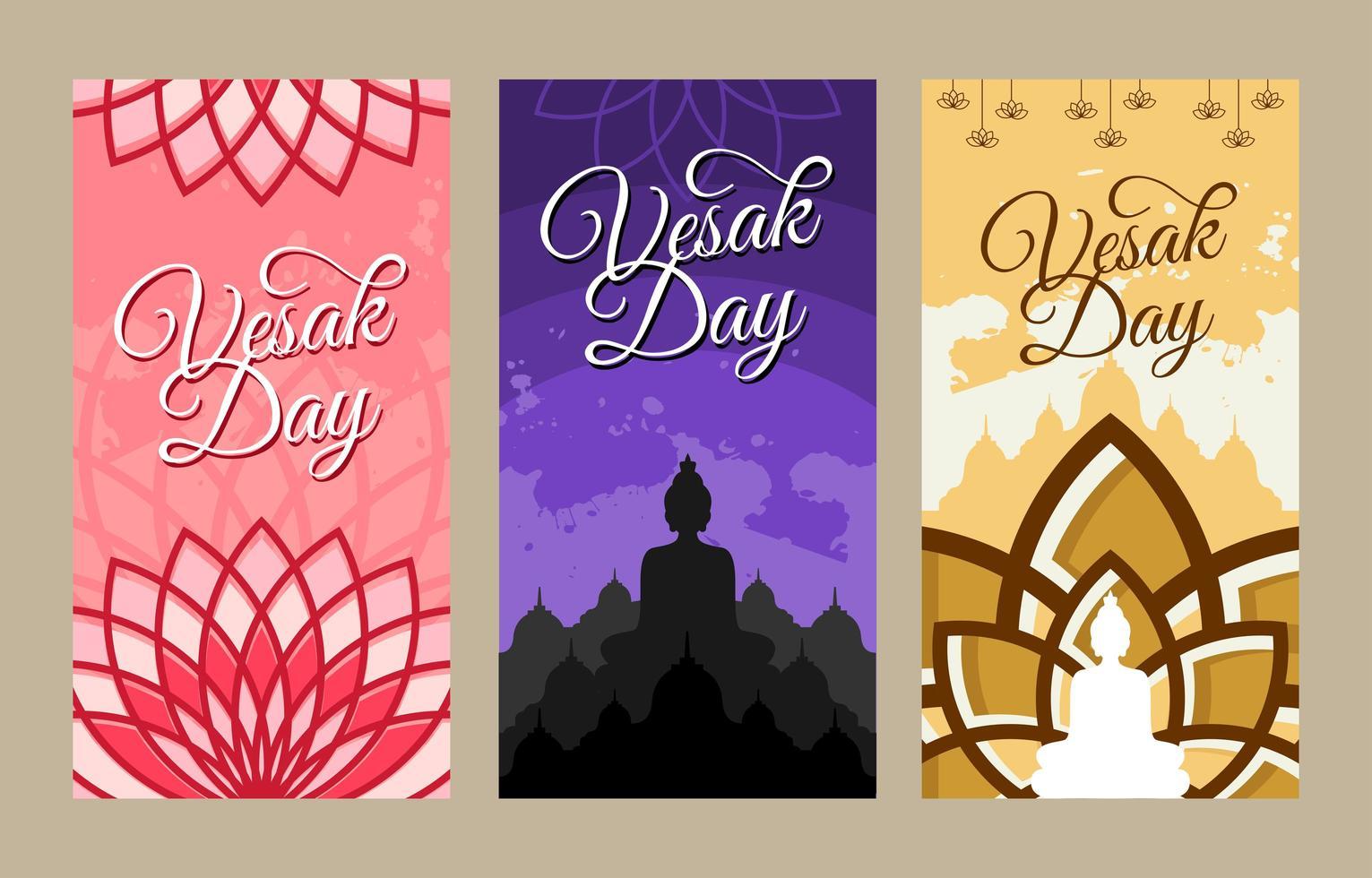 Happy Vesak Day Illustration Banner Set vector