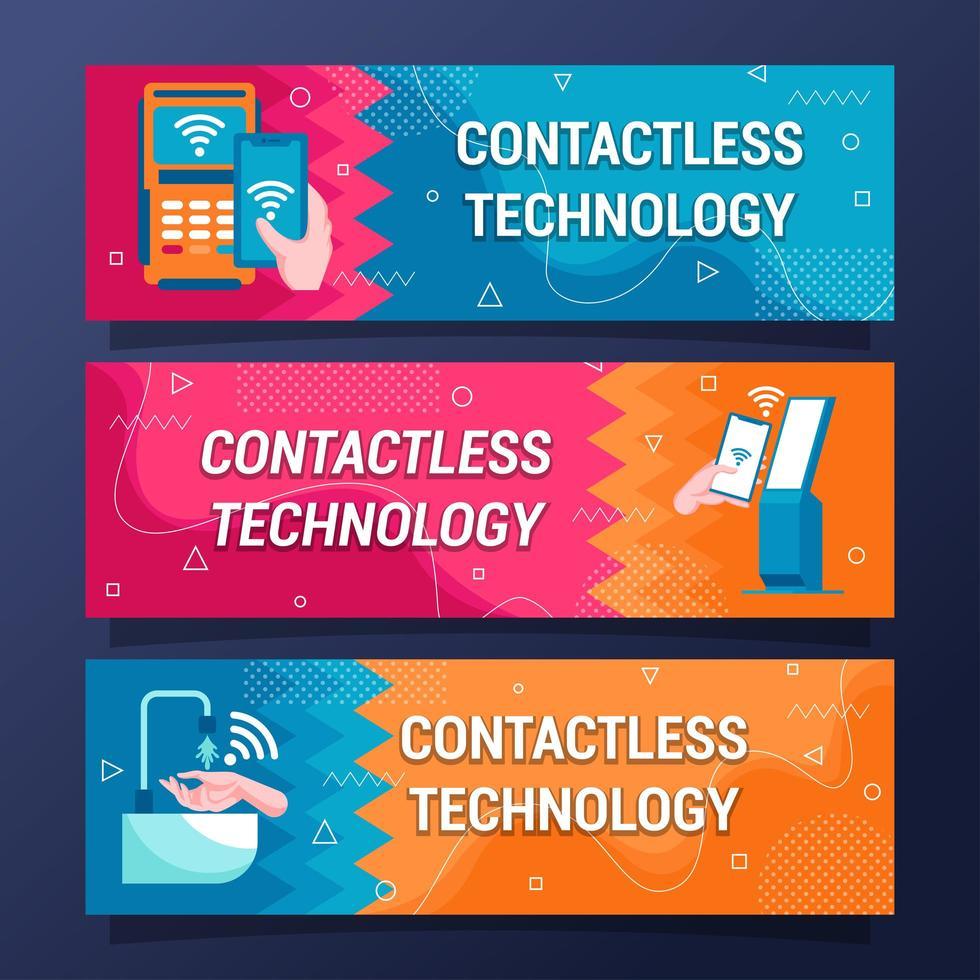 Contactless Technology Flat Banner Design Set vector
