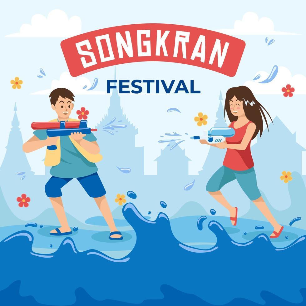 Children Playing Water In Songkran Day vector