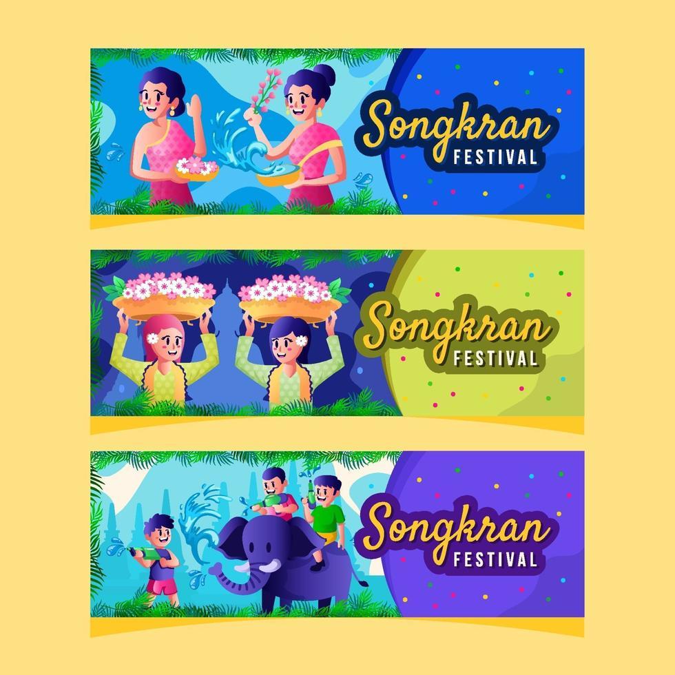 People Activities in Songkran Water Festival Banner vector