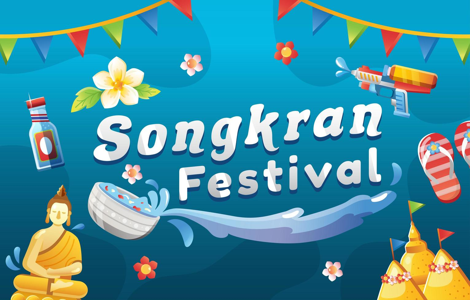 Songkran Water Splashing Festival Background vector