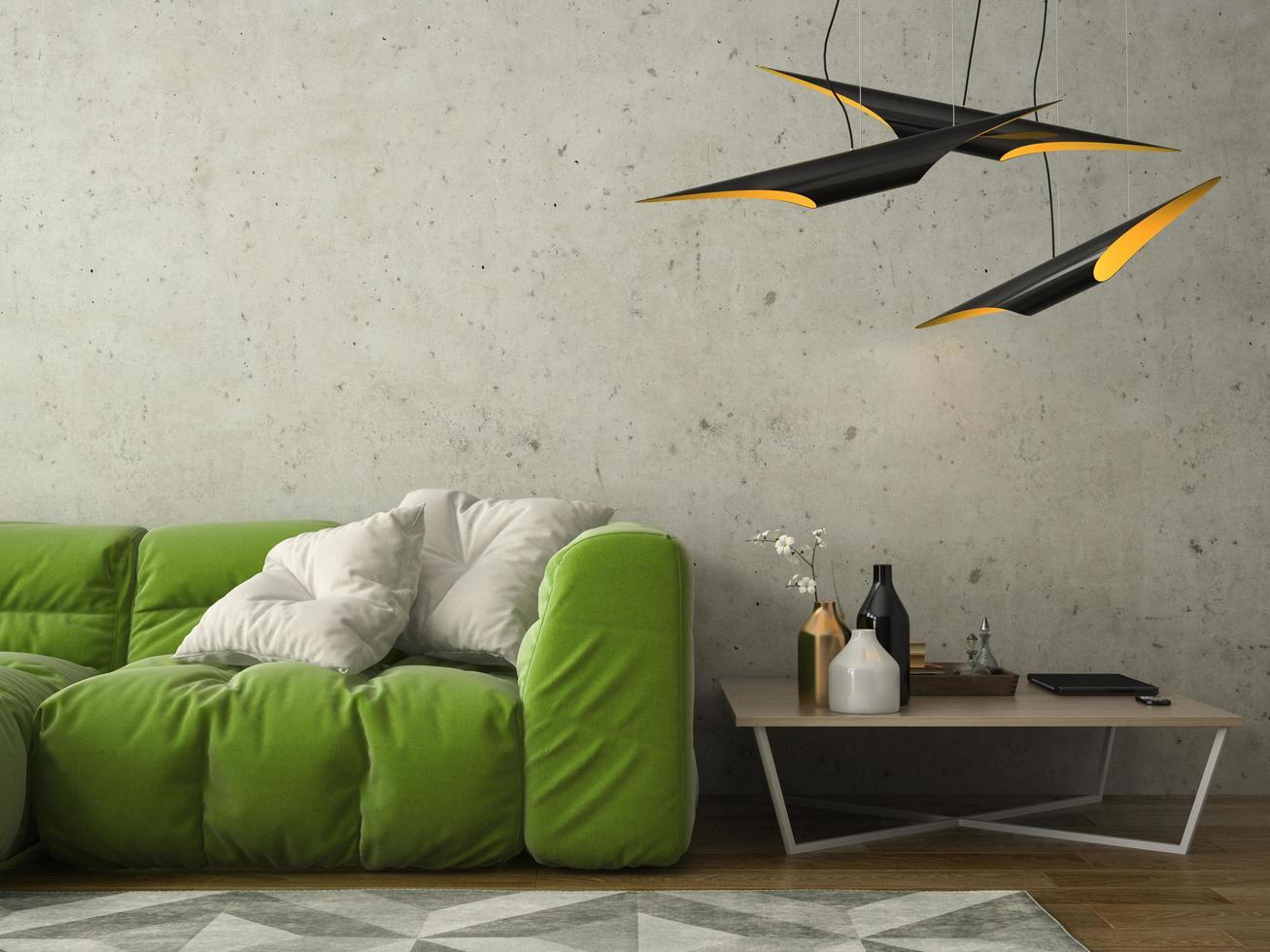 Interior design of a modern room in 3D illustration photo