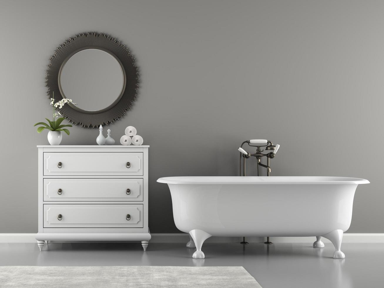 Interior of a classic bathroom with a stylish bathtub in 3D rendering photo