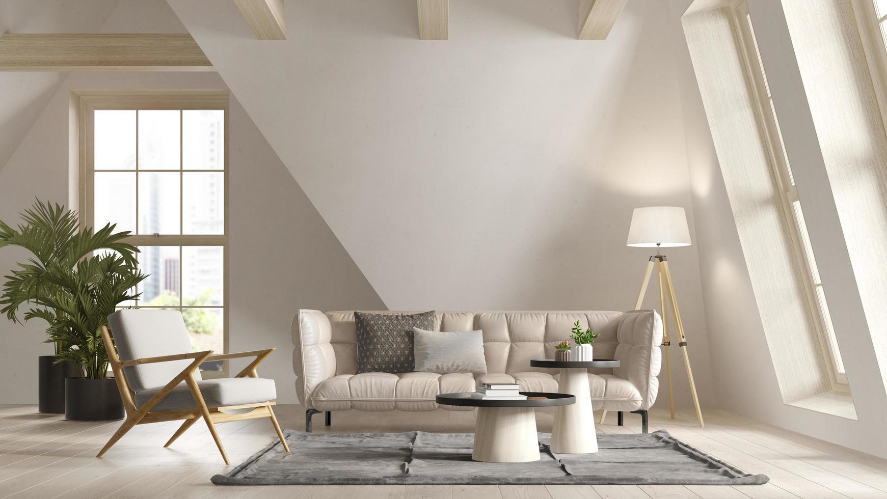 White color attic interior room in 3D illustration photo